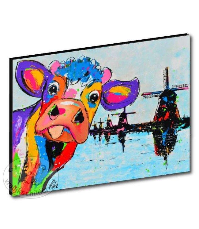 "Kunstdruk 3 cm "" Koe molens "" 120 x 90"