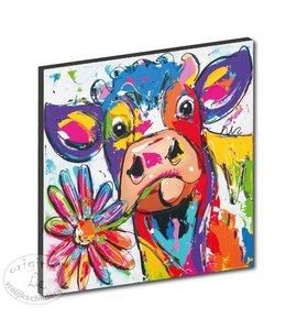 "Kunstdruk 3 cm "" Koe met bloem """