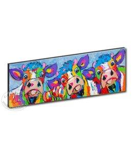 "Kunstdruk 2 cm "" 3 Koeien blauwgrijs "" 120 x 40"