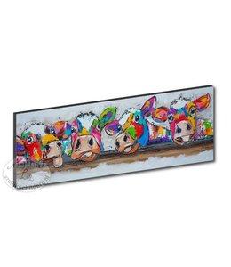 """Kunstdruk 2 cm """" Koeien over de balk """" 120 x 40"""