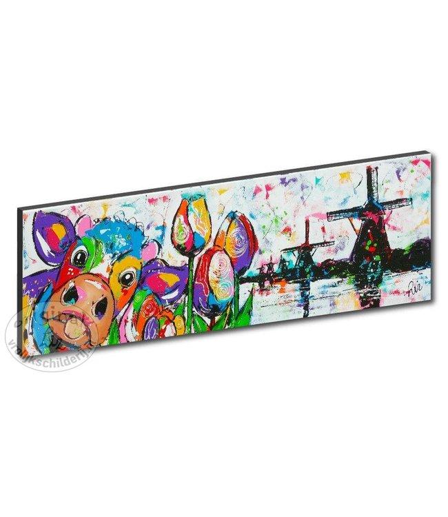 """Kunstdruk 2 cm """" Koe in landschap """" 120 x 40"""