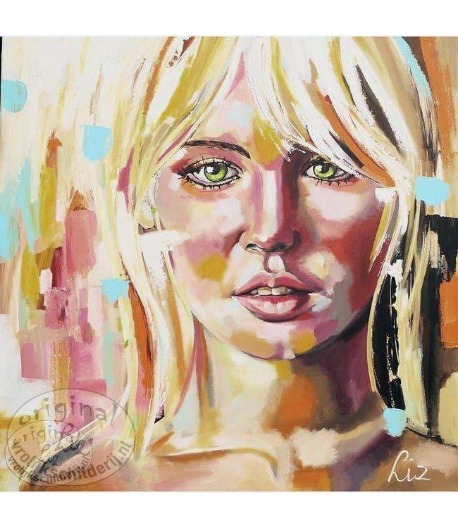 "Corrie 120 x 120 cm schilderij "" Portret dame """