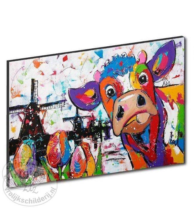 """Kunstdruk 3 cm """" Hollandse koe """" 120 x 90"""