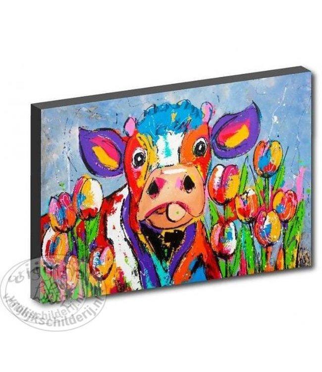 "Kunstdruk 3 cm "" Koe tussen de tulpen "" 120 x 90"
