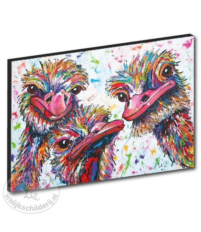 "Kunstdruk 2 cm ""Struisvogels wit"" 120 x 80"