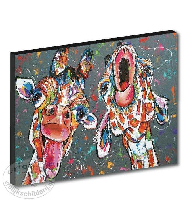 "Kunstdruk 3 cm "" Gekke giraffes "" 120 x 90"