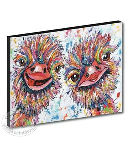 "Kunstdruk 3 cm "" Struisvogels wit "" 120 x 90"