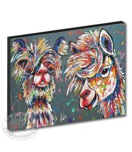 """Kunstdruk 3 cm """" Alpacas grijs"""" 120 x 90"""