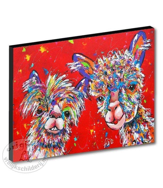 "Kunstdruk 3 cm "" Alpacas rood"" 120 x 90"