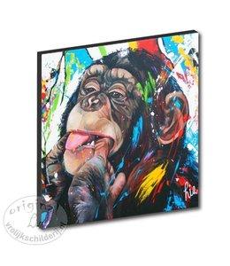 """Kunstdruk 2 cm """"Crazy Monkey"""" 20 x 20"""