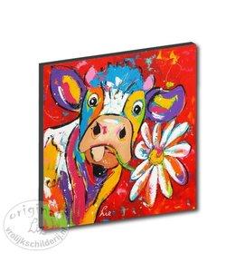 "Kunstdruk 2 cm ""Koe rood bloem"" 20 x 20"