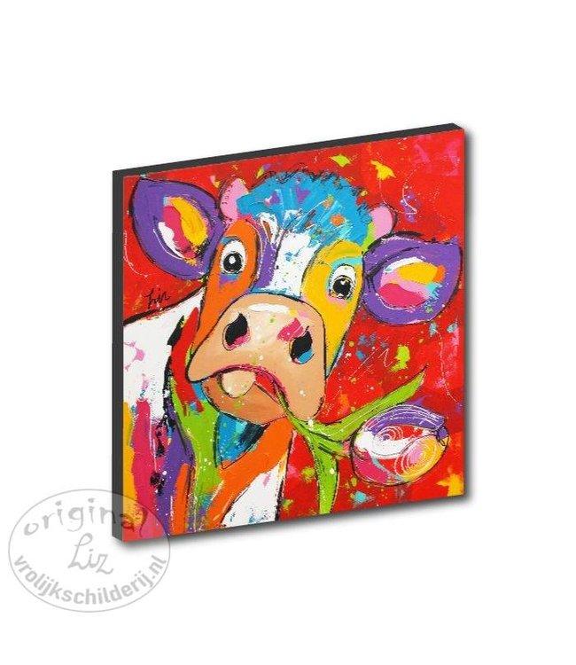 """Kunstdruk 2 cm """"Koe tulp rood """" 20 x 20"""
