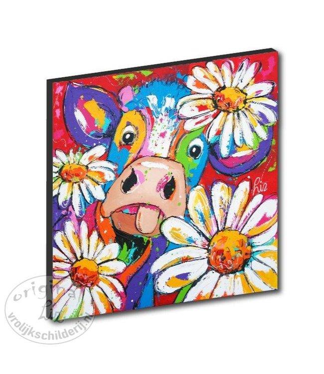 """Kunstdruk 2 cm """"Koe veel bloemen """" 20 x 20"""