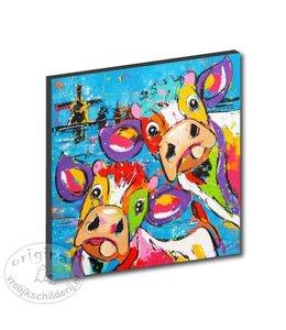 """Kunstdruk 2 cm """"koeien blauw molens"""" 20 x 20"""