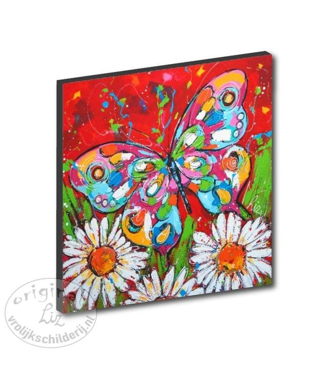 "Kunstdruk 2 cm ""Vlinder met bloem"" 20 x 20"
