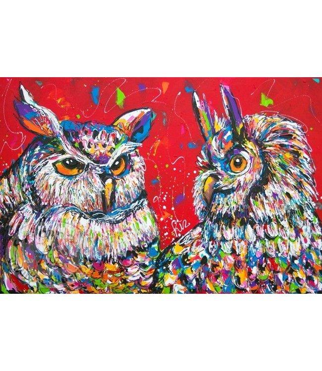 """120 x 80 cm schilderij """" Uilen rood """""""