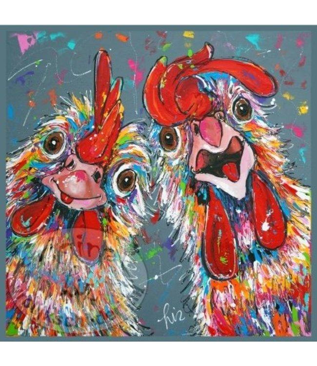 """Ansichtkaart """" Crazy Chickens """" 15 x 15 cm"""