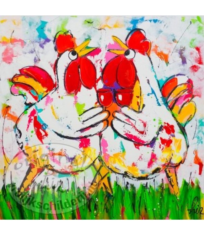 "Ansichtkaart "" Kippen proost "" 15 x 15 cm"