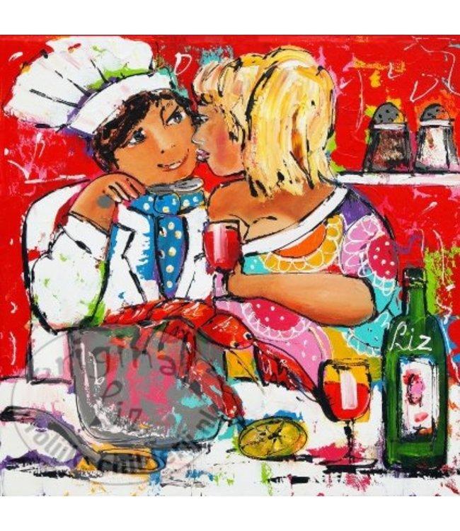 """Ansichtkaart """" Aan tafel """" 15 x 15 cm"""
