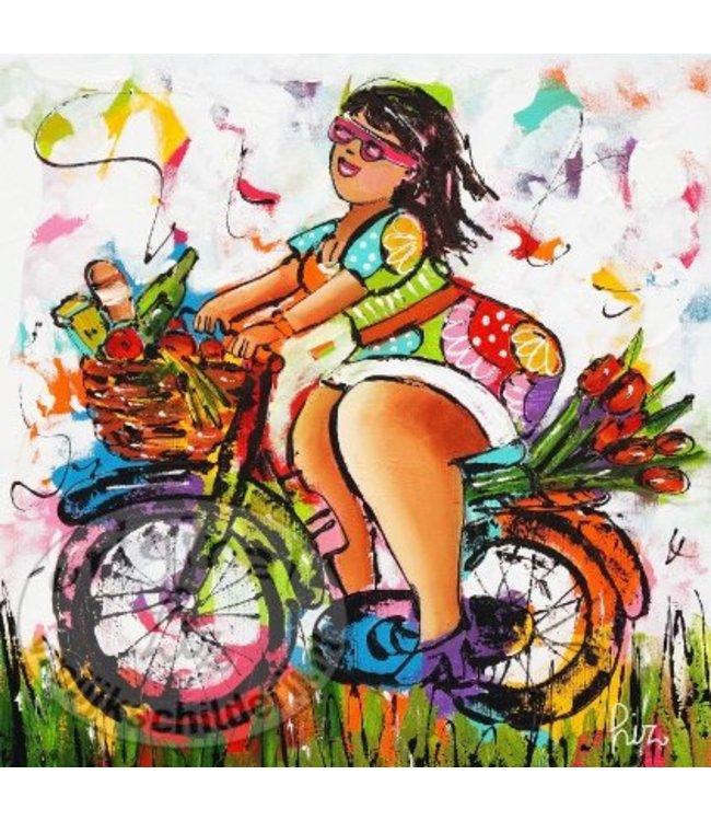 """Ansichtkaart """" Lekker fietsen """" 15 x 15 cm"""