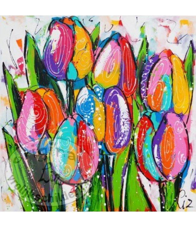 """Ansichtkaart """" Hollandse tulpen """" 15 x 15 cm"""