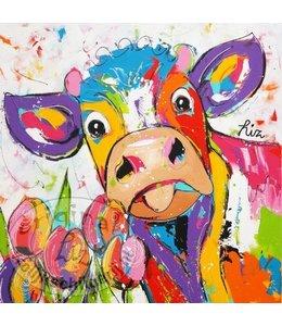 "Ansichtkaart "" Tulpen koe "" 15 x 15 cm"