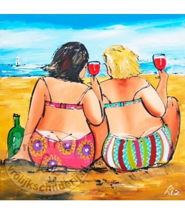 """Ansichtkaart """" Glaasje aan het strand """" 15 x 15 cm"""