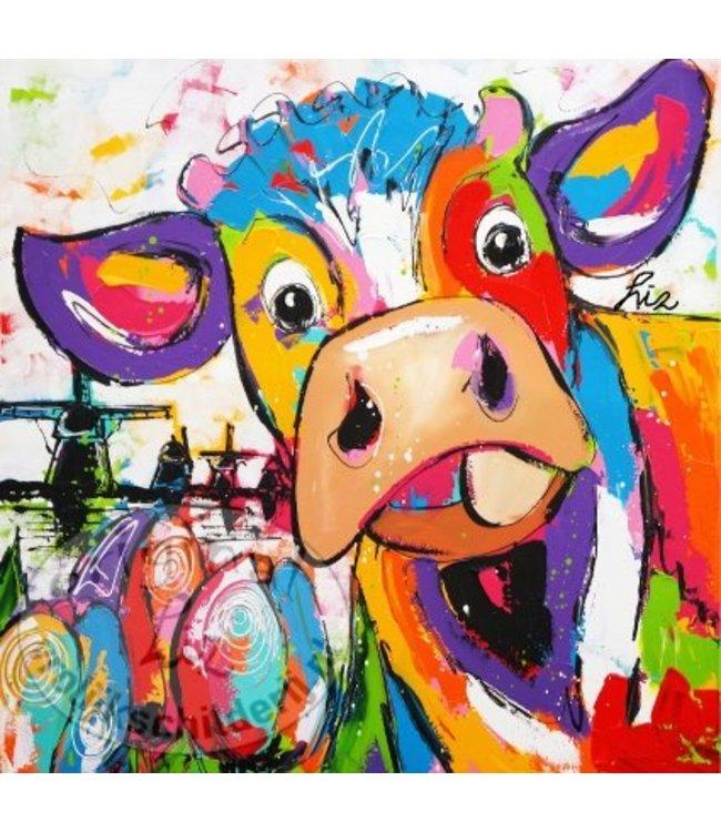 """Ansichtkaart """" Koe molens tulp """" 15 x 15 cm"""