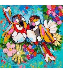 """Ansichtkaart """" Vogeltjes blauw """" 15 x 15 cm"""