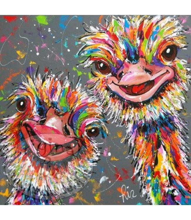 """Ansichtkaart """" Struisvogels """" 15 x 15 cm"""