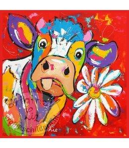 "Ansichtkaart "" Koe rood margriet "" 15 x 15 cm"