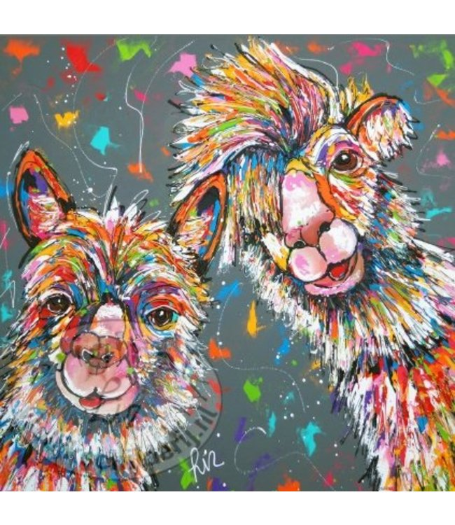 """Ansichtkaart """" Alpaca's grijs """" 15 x 15 cm"""