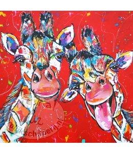 """Ansichtkaart """" Giraffe rood """" 15 x 15 cm"""