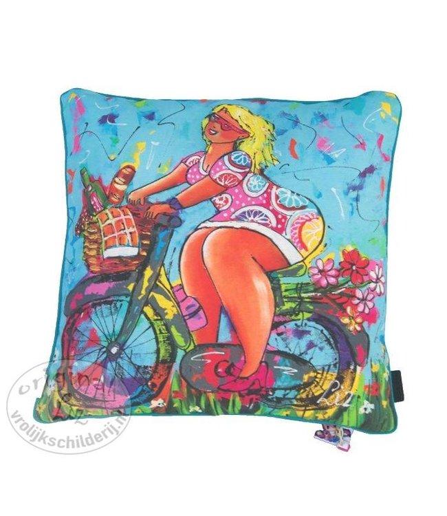 Sierkussen Dame fiets