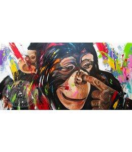 """Renate 160 x 80 cm schilderij """" Vinger in je neus """""""
