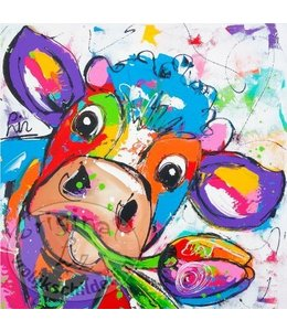 "Vrolijk Schilderij Kunstdruk 2 cm ""Koe Tulipa"" 20 x 20"