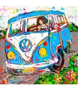 """Vrolijk Schilderij Kunstdruk 2 cm """"Happy on the road"""""""