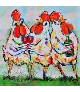 """Vrolijk Schilderij Kunstdruk 2 cm """"Kippen Cheers"""""""