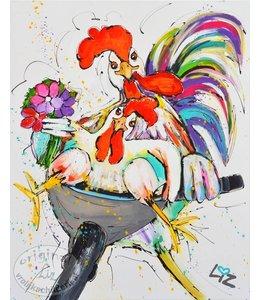 """Kunstdruk  """"Funny chickens"""" vanaf"""