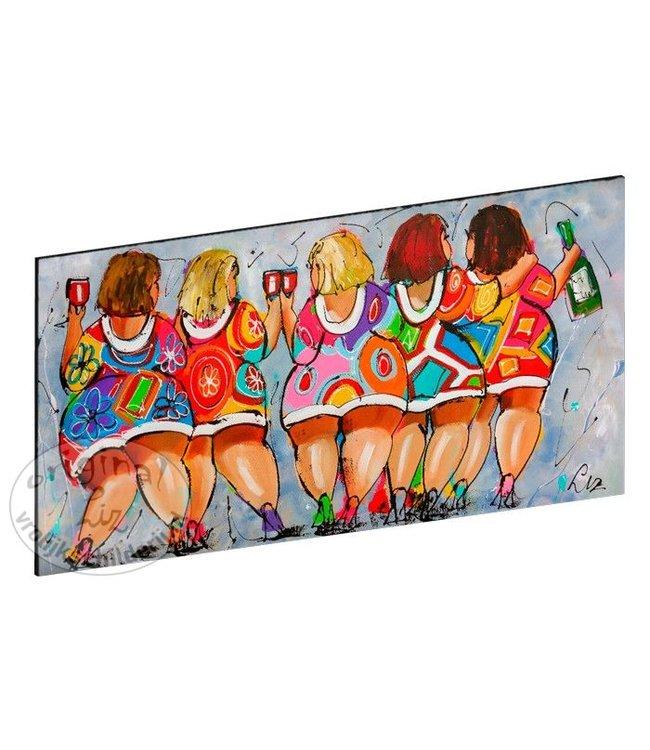"""Vrolijk Schilderij Kunstdruk 2 cm """" Dames blauwgrijs """" 120 x 60"""