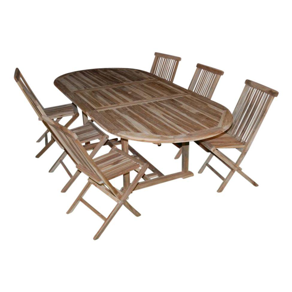 Table extensible incl 6 chaises pliantes teak one - Table extensible chaises ...