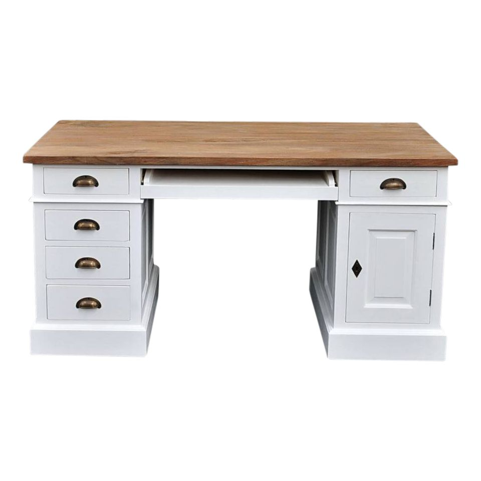 Bureau wit teak one for Ladenblok bureau wit