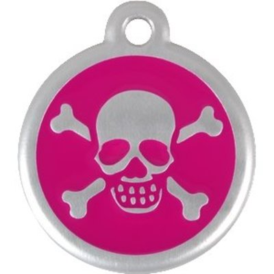 Red Dingo QR Dogtags Skull and Cross Hot Pink