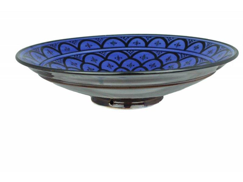 Marokkaanse schaal blauw 35 cm