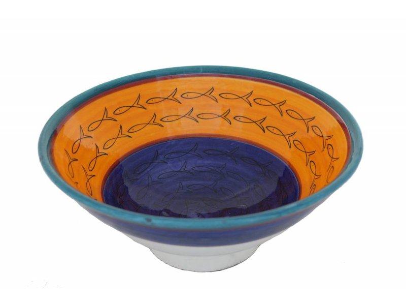 Marokkaanse kom geel-blauw vis 27 cm