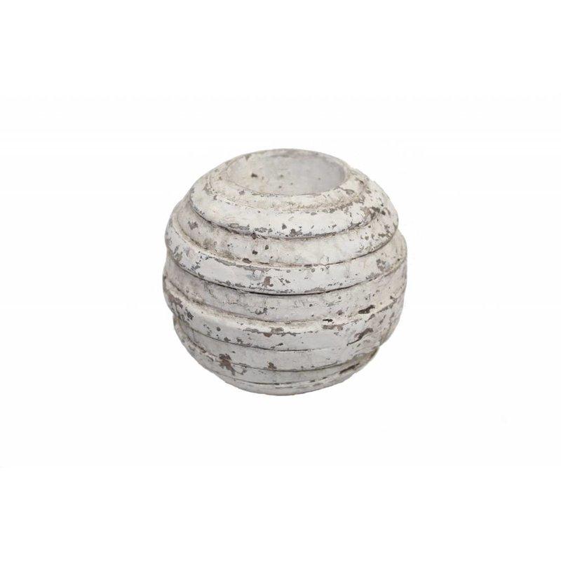 Waxinelichthouder antiek grijs (set van 3)