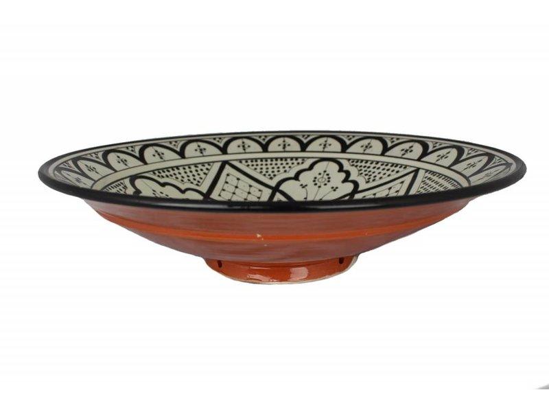 Marokkaanse schaal wit-zwart 40 cm