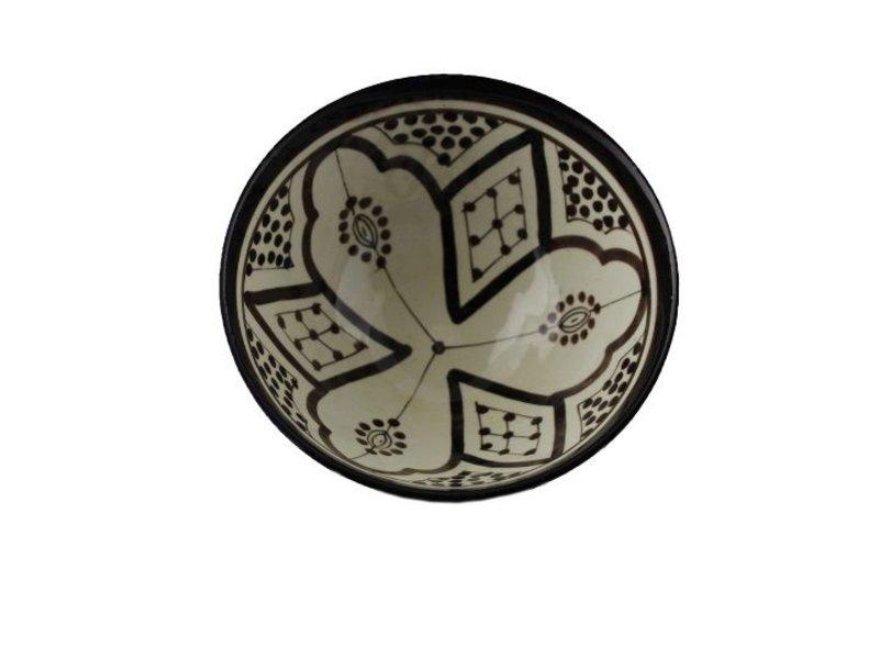 Marokkaans schaaltje wit-zwart 15 cm