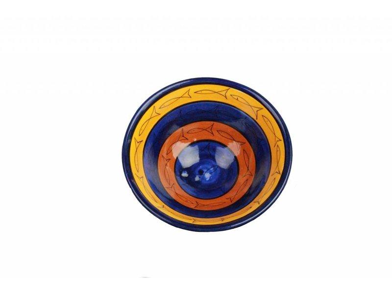 Marokkaanse schaal geel-blauw-bruin vis 19 cm