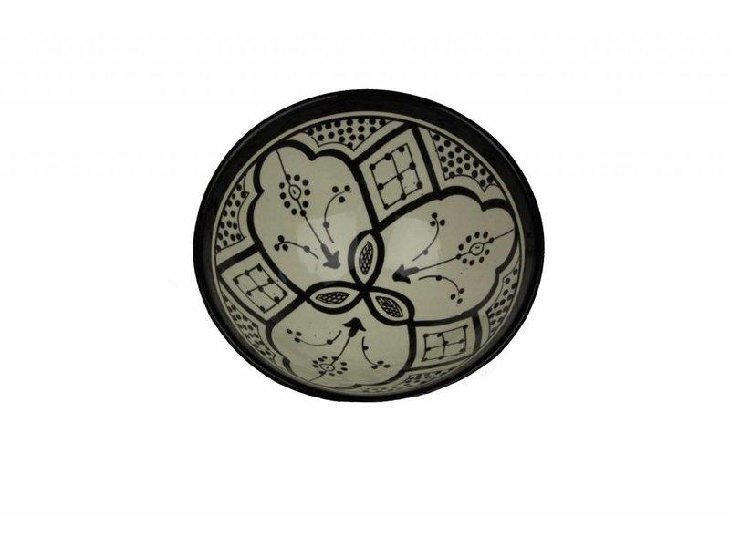 Marokkaans schaaltje wit-zwart 19 cm